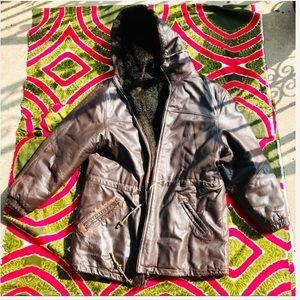Vintage Leather Fur Bomber Coat
